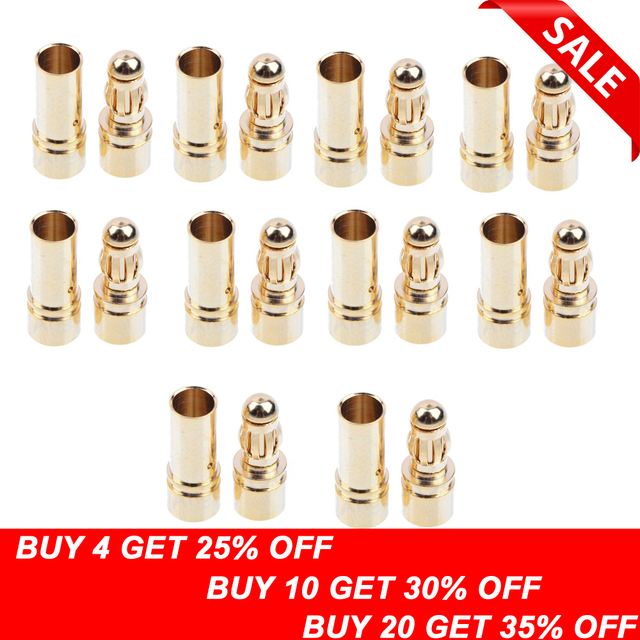 20/40 piezas 3,5mm bala de oro conector Banana conector enchufe para ESC batería Motor (10/20 pares)