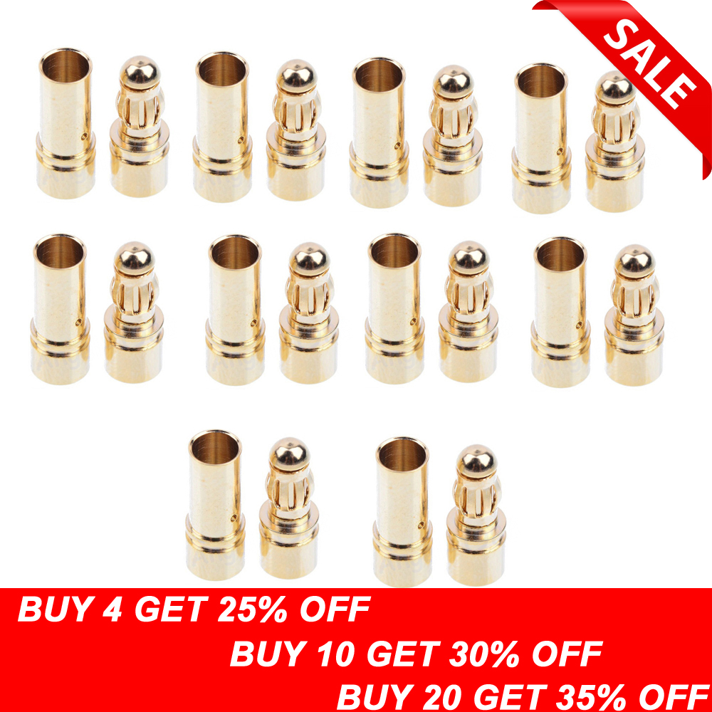 20 / 40pcs 3,5mm Gold Bullet Banana Connector Plug For ESC Batterimotor (10/20 par)