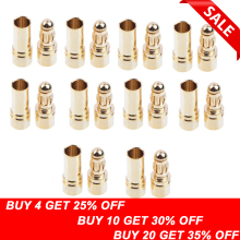 цены 20pcs/lot 3.5mm Gold Bullet Banana Connector Plug For ESC Battery Motor (10 pair)