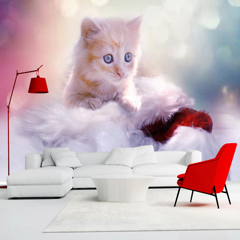 mural 3d cat bedroom wall background kitten custom decoration children murals cartoon wallpapers any animal zoom adorable covering woven non
