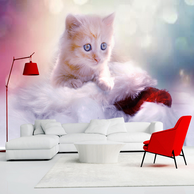 Custom Any Size 3d Wall Mural Wallpaper Cute Cat Children Room