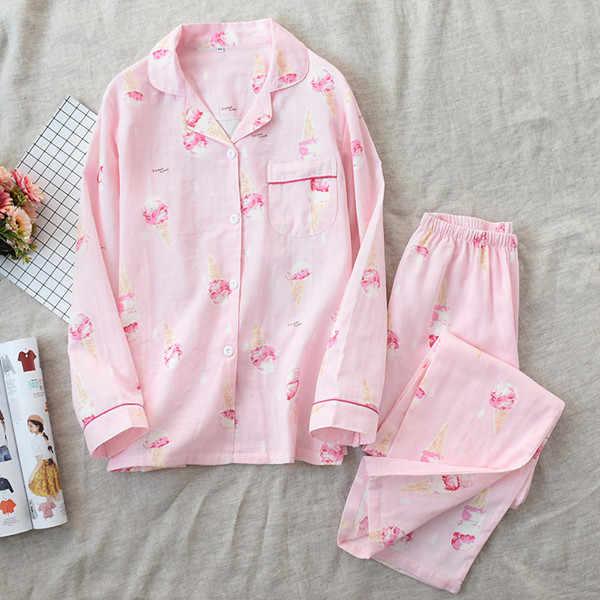 Fdfklak חדש כותנה גבירותיי פיג 'מה משפחת סט פיג' מה לנשים לילה חליפה ארוך שרוול הלבשת pyjama femme אביב סתיו Q1562