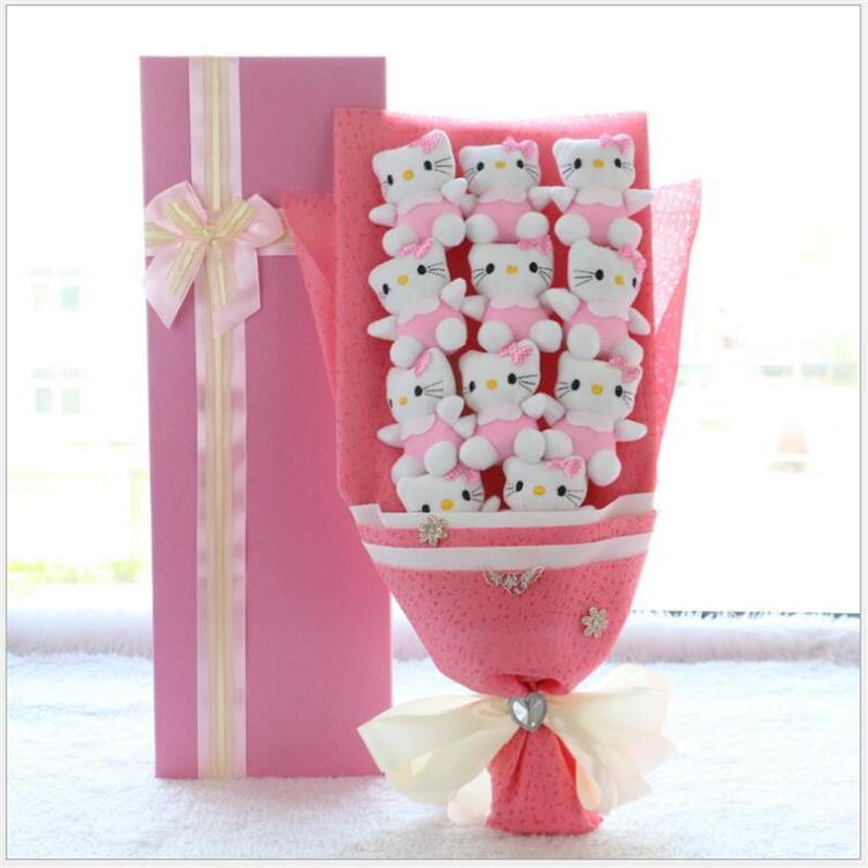 Plush&stuff Animal toys cat rabbit pig plush doll cartoon bouquets flower Creative Valentine's Day gifts Christmas gift