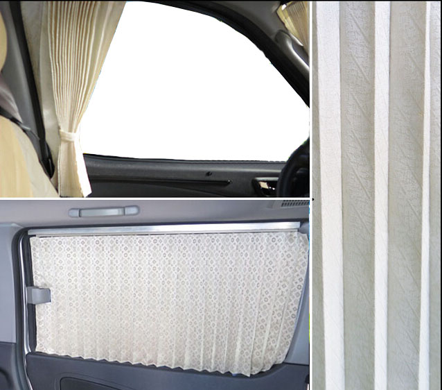 aangepast luxe polyester venster zonnescherm gordijnen blinds voor auto bus suv mpv zwartgrijsbeige in aangepast luxe polyester venster zonnescherm