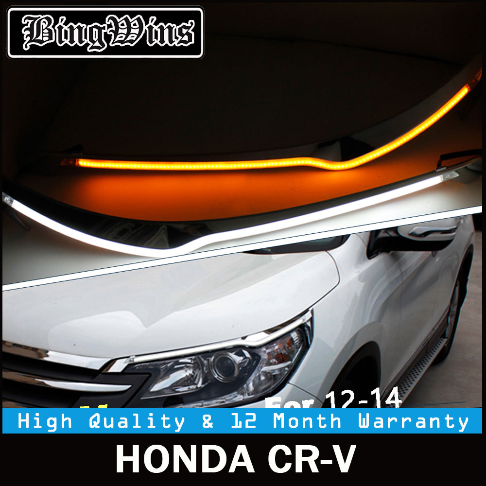 Car styling for Headlight LED Eyebrow Daytime Running Light DRL With Yellow Turn Signal Light For Honda CRV 2012-2014 9600Lm car styling led headlight brow eyebrow daytime running light drl with yellow turn signal light for ford escape kuga 2013 2016