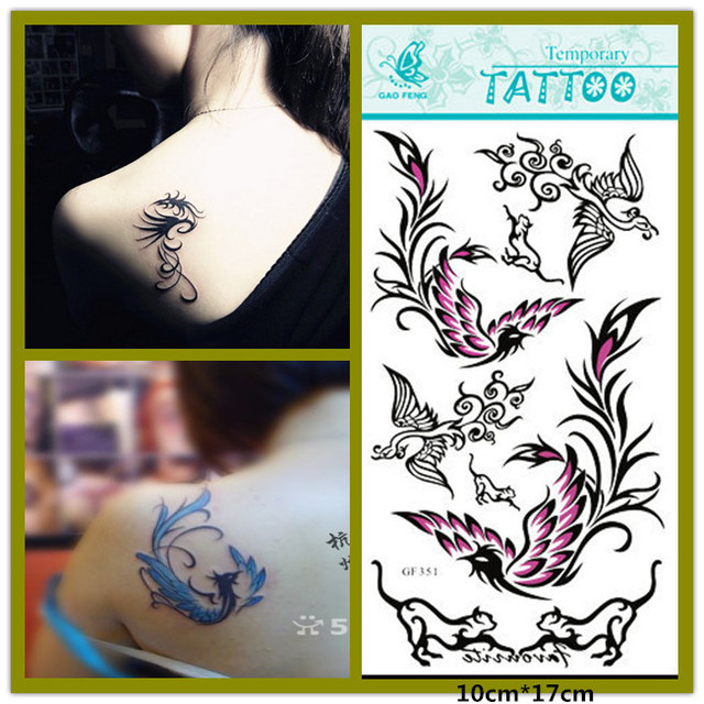 0750344b3fe69 (2pcs/lot) Waterproof Temporary Tattoo Sexy Color Phoenix Tattoo Stickers  for Back, Waist, Arm, Chest Tattoos Female Tatoo
