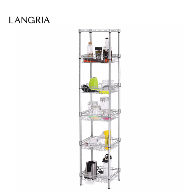 LANGRIA Modern 6-Tier Wire Shelving Unit with Baskets Free-Standing Storage Organization Utility Rack for Home Kitchen Room