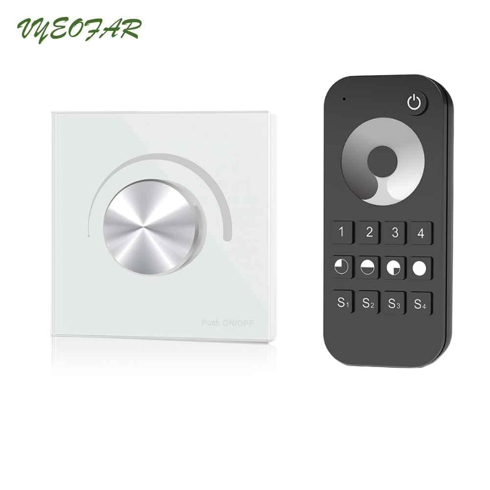 все цены на New Led Triac Dimmer AC 100-240V Input Trailing Edge Dimming Wall Mount Rotary Panel Manual Dimmer and RT6 RF Remote 4 zone онлайн