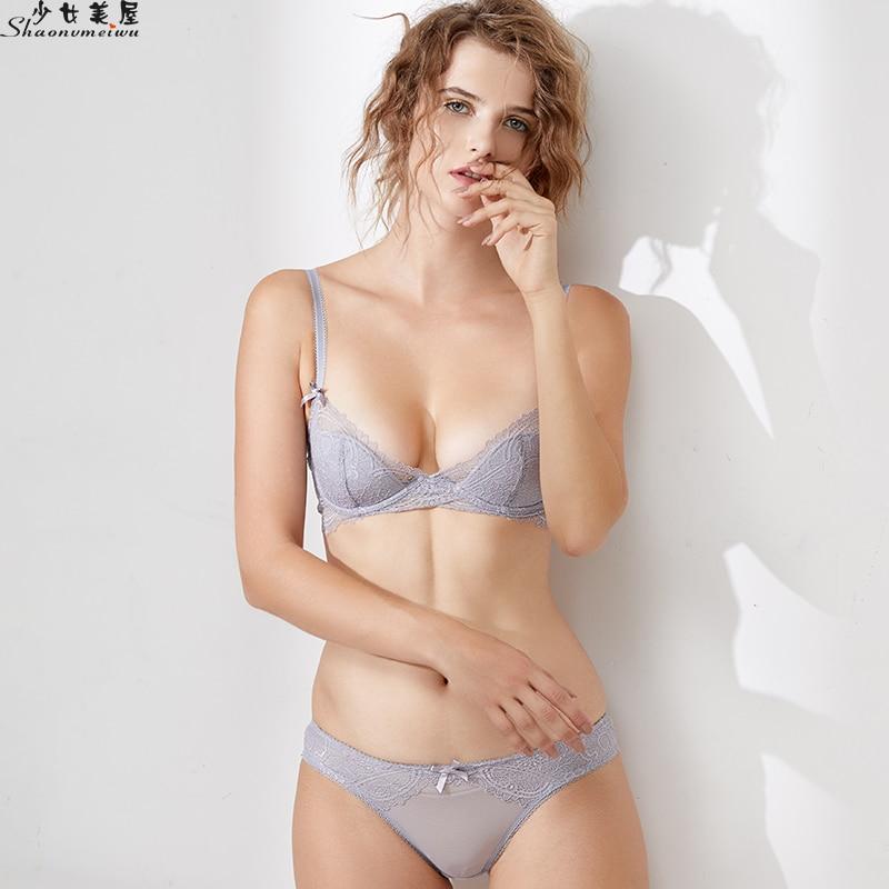 Shaonvmeiwu Women's sexy lace lingerie bra set bra thin soft ribbed fleece lining