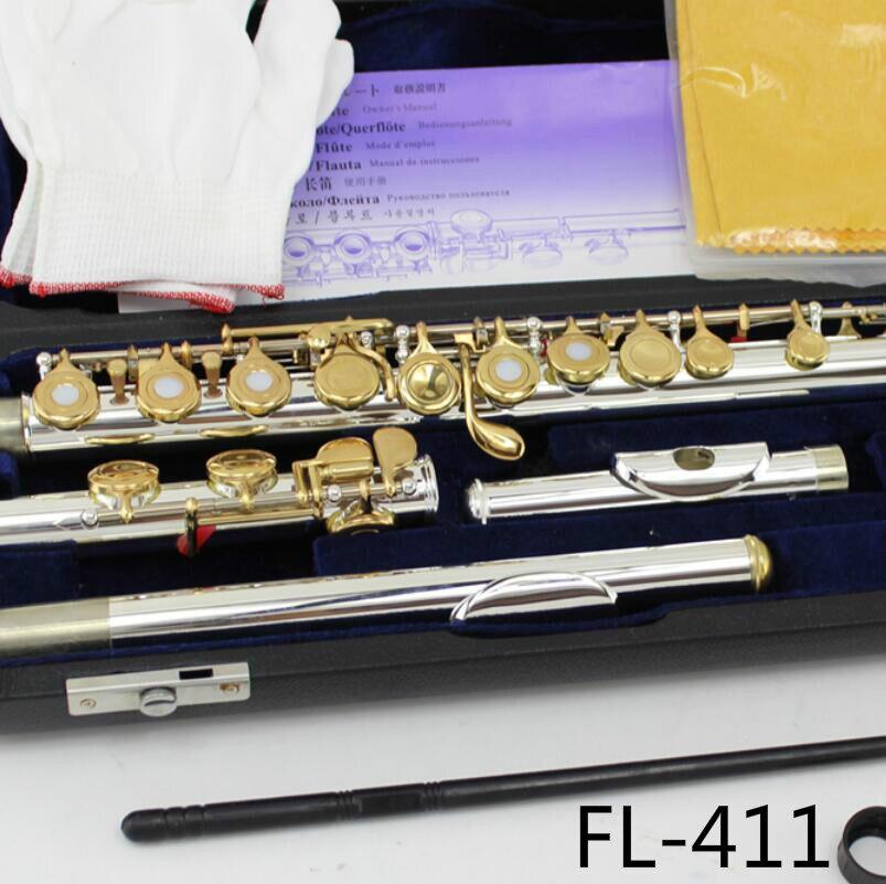 MARGEWATE Flûte FL-411 Courbe Deux Têtes Flûtes Argent Plaqué Or Laque Clés 16 Trous Ouvert C Key Flûte Traversière avec Cas
