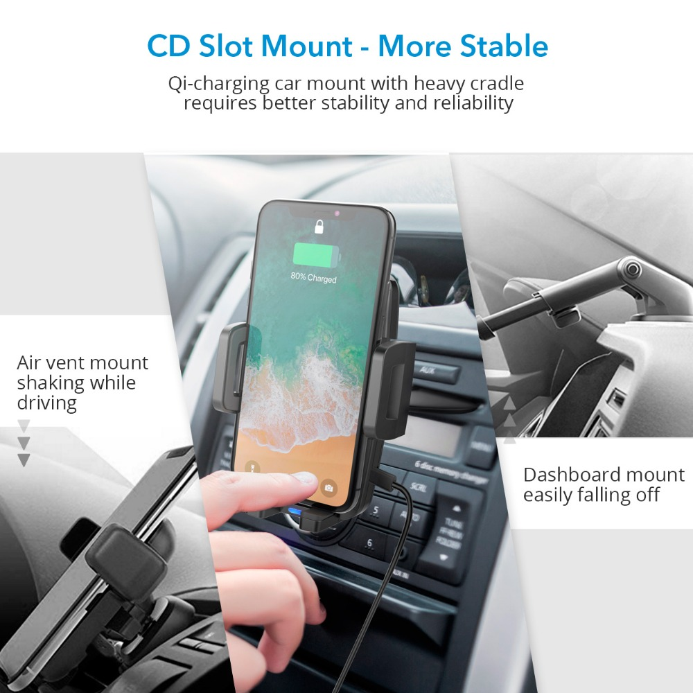 Image 5 - Mpow CA108 2 in 1 10W/7.5W/5W Qi Wireless Charger CD Slot Car  Phone Holder Stand For iPhone X 8/Plus Samsung S9 S8 S7 S6 Note 8Phone  Holders