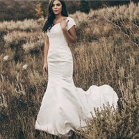 Satin Lace Mermaid Modest Wedding Dresses With Cap Sleeves Beaded Pearls Women Country Modest Bridal Gowns Simple
