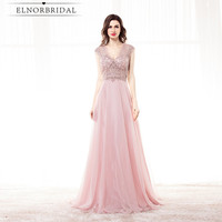 Real Photos Blush Evening Dresses Long 2018 Avondjurk Vestidos Longo De Festa Open Back Formal Prom Dress Party Gowns