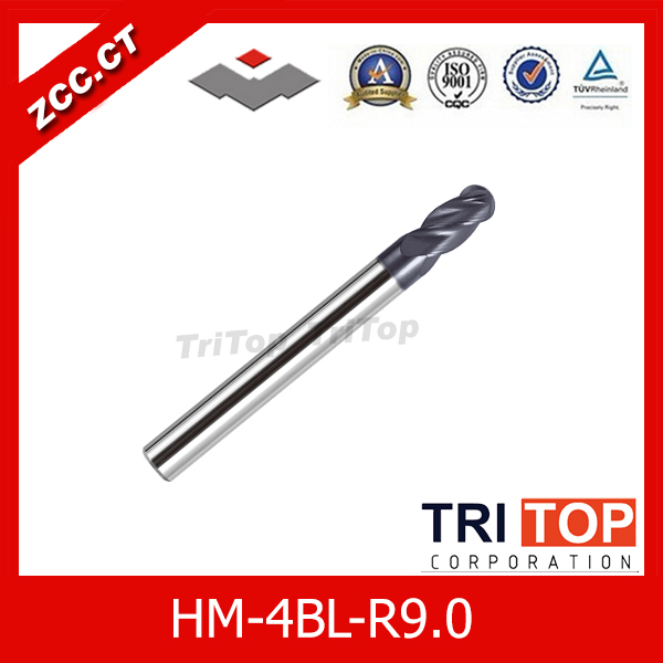high-hardness steel machining series ZCC.CT HM/HMX-4BL-R9.0 Solid carbide 4 flute ball nose end mills with straight