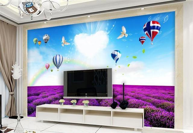 D behang custom photo non woven mural foto romantische lavendel
