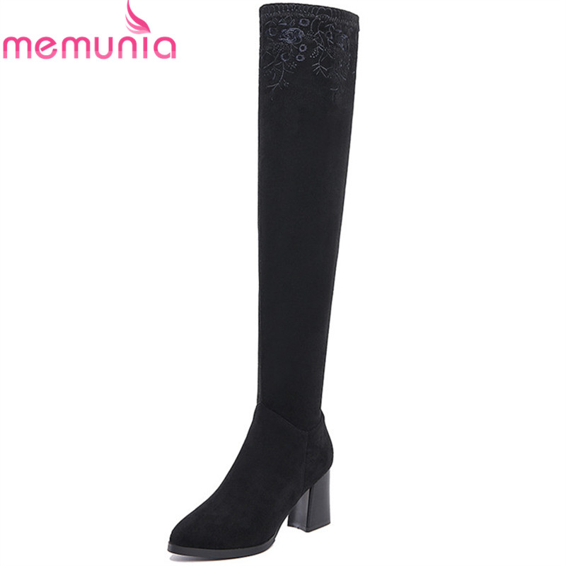 MEMUNIA China's wind over the knee boots for women winter boots high heels shoes woman leather boots embroidery fashion memunia big size 34 43 over the knee boots for women fashion shoes woman party pu platform boots zip high heels boots female