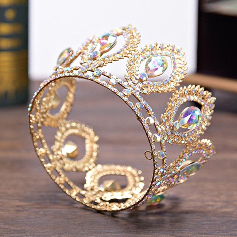 DIEZI Kleine Größe Crown Barock Gold Silber Kristall Blume Crown Tiaras Für Frauen AB Strass Mädchen Braut Hochzeit Haar Schmuck