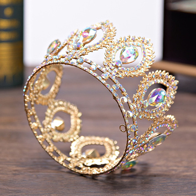 DIEZI Small Size Crown Baroque Gold Silver Crystal Flower Crown Tiaras For Women AB Rhinestone Girls Bride Wedding Hair Jewelry
