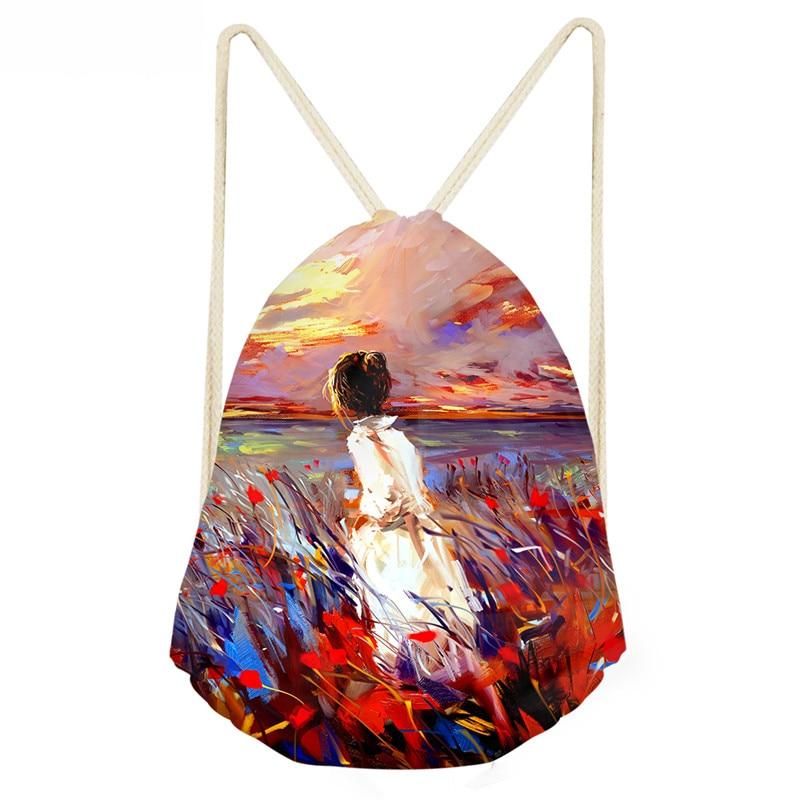 ThiKin Oil Painting Drawstring Bag For School Girls Women Softback Backpack Small Men Illustration Prints Mochila Feminina Bags