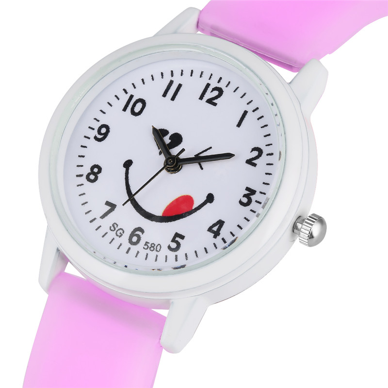 Exquisite Lovely Tongue Expression Pattern Dial Quartz Watch Movement For Children Silicone Strap Wristwatch Cute Candy Watch