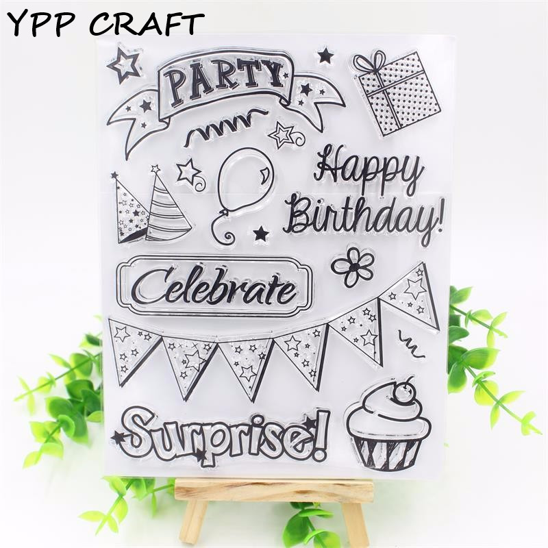 YPP CRAFT Happy Birthday Transparent Clear Silicone Stamp/Seal for DIY scrapbooking/photo album Decorative clear stamp sheets about lovely baby design transparent clear silicone stamp seal for diy scrapbooking photo album clear stamp paper craft ll 052