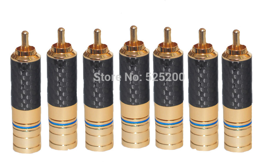 цена на New Style Gold+Carbon fiber RCA Plug Male Pin Audio Speaker Connector for Cable Connectors  2pcs