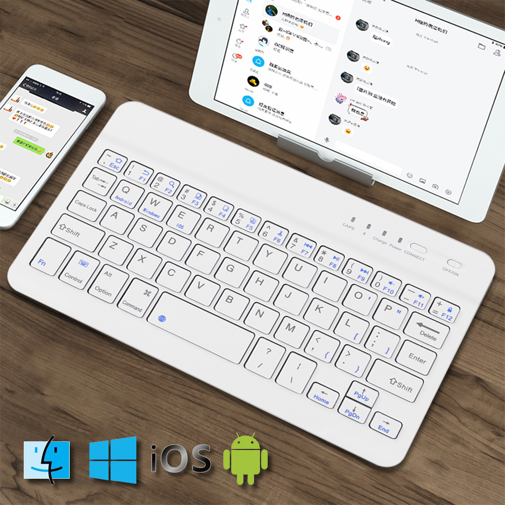 Image 2 - 7.9inch Ultra Slim Wireless Bluetooth Keyboard 59 keys Rechargeable High Quality Portable Keypad For iPad iOS Android Windows PC-in Keyboards from Computer & Office