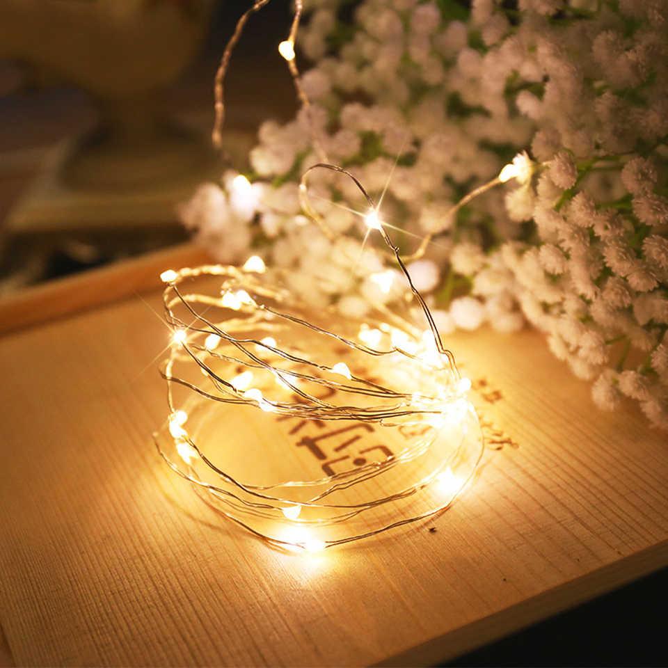 5 m 50 LED סוללה מופעל LED נחושת חוט מחרוזת אורות חג המולד זר מסיבת חתונת קישוט חג המולד פיות אורות