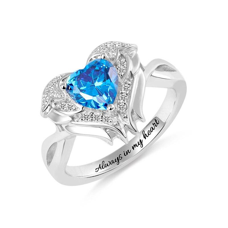 AILIN gravure personnalisée 925 argent Sterling en forme de coeur pierre ange aile anneau en argent couleur mémorial bijoux pour cadeau