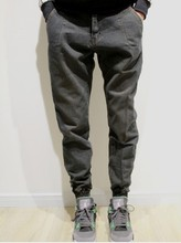 Upon male tide brand jeans pants feet size Haren pants pants black closed cone