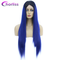 Ombre Synthetic Lace Front Wig Long Straight Lace Front Wig Women Wigs For Black Women White Blue 613 Black Grey Cosplay Wig