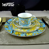High Quality Porcelain Dinner Set Royal Classical Tableware One Person Flatware Set With Tea Cup And
