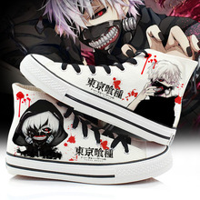 Spring Tokyo Ghoul Cosplay Canvas Shoes Casual Hand Painted High-Top Shoes plus Size 35-43 Kaneki Ken Student Sneakers A50907