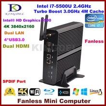 Тонкий клиент технологии Windows10 Intel i7 5500u дешевые домашнего кинотеатра PC 2 * lan + 2 * HDMI + SPDIF + USB 3.0, HD 4 К, 300 м WI-FI настольных мини-ПК
