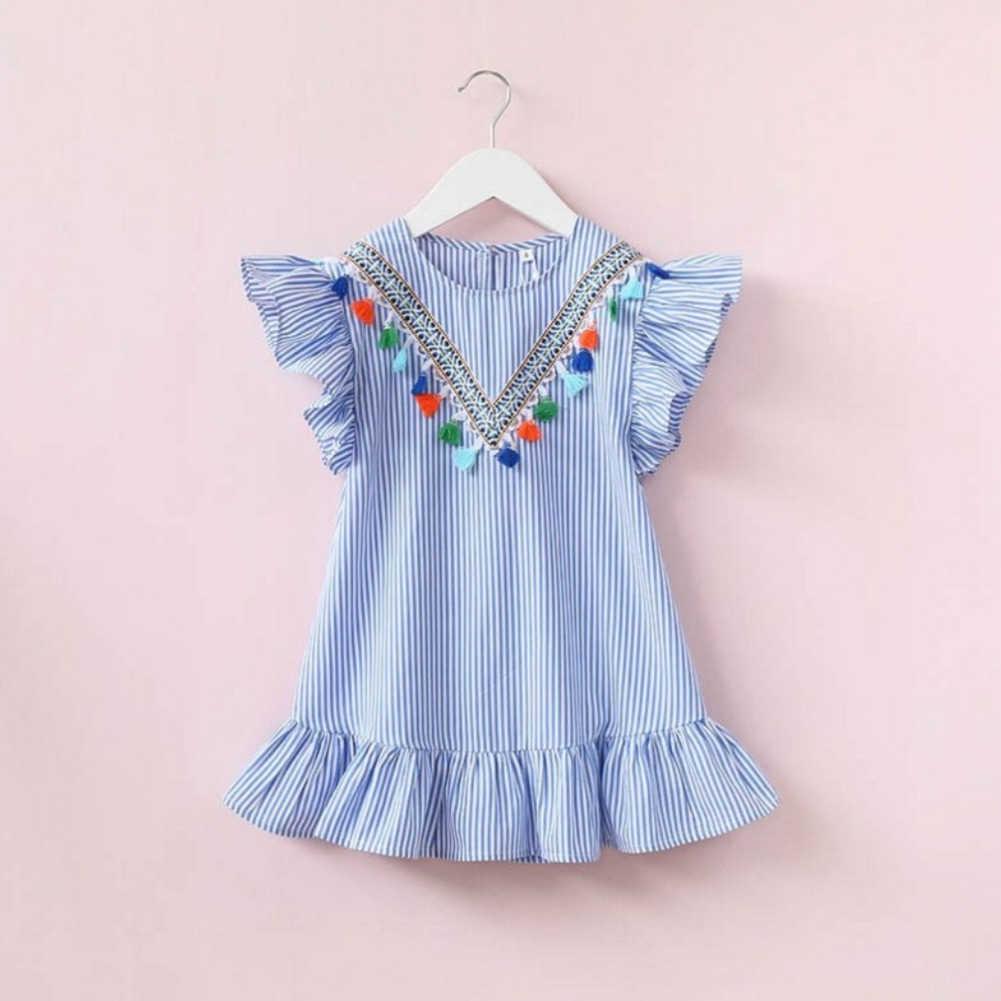 طفلة مخطط شرابة الصيف فستان مكشكش كم الوردي الأزرق فستان الشمس كشكش فستان الشمس طفل القطن لطيف فساتين الحفلات
