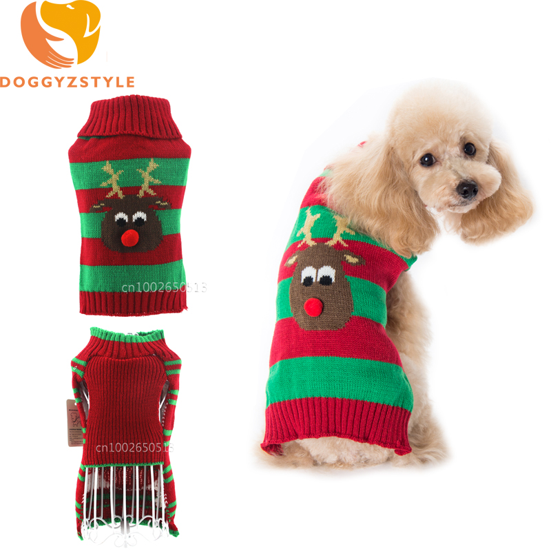 Xmas Reindeer Design Pet Dog Sweater Winter Autumn knitting Coat Clothes For Small Dogs Chihuahua Christmas Wedding Apparel