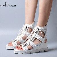 Mabaiwan женская обувь белого цвета с открытым носком летние Повседневное в богемном стиле Туфли танкетки на платформе для женщины гладиаторы