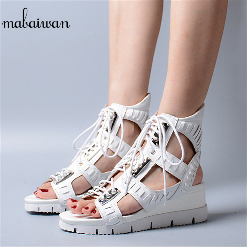 Mabaiwan White Women Shoes Open Toe Summer Casual Bohemia Platform Wedge Shoes For Woman Gladiator Breathable High Heel Sandals mabaiwan women shoes genuine leather summer sandals casual platform wedge shoes woman rivets gladiator wedges breathable sandal