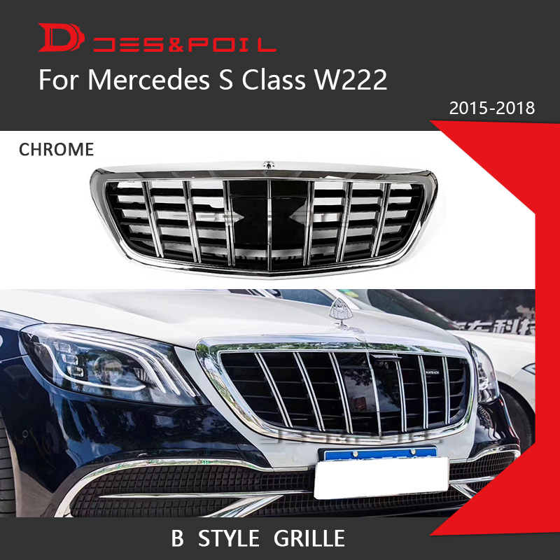 S Class Grille For Mercedes Benz W222 Coupe Sedan Chrome Front Racing Grill 2015-2018 S320 S400 S350 S500 S450 Great Fitment grille