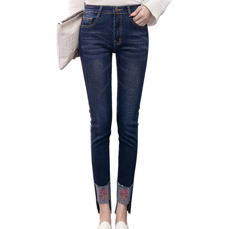все цены на  Fashion New Mid Waist Casual Plus Size Womens Slim Fit Female Jeans Skinny Stretch Women Denim Females Embroidery Pencil Pants  в интернете