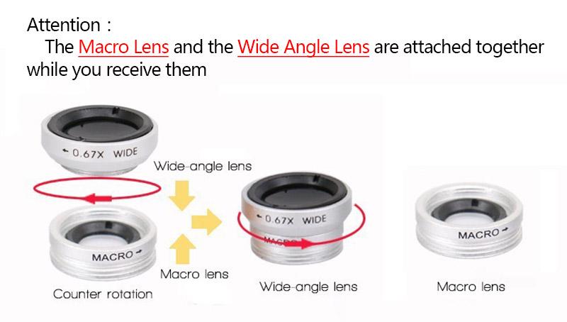 Fisheye Lens 3 in 1 mobile phone clip lenses fish eye wide angle macro camera lens for iphone 6s plus 5s/5 xiaomi huawei lenovo 1