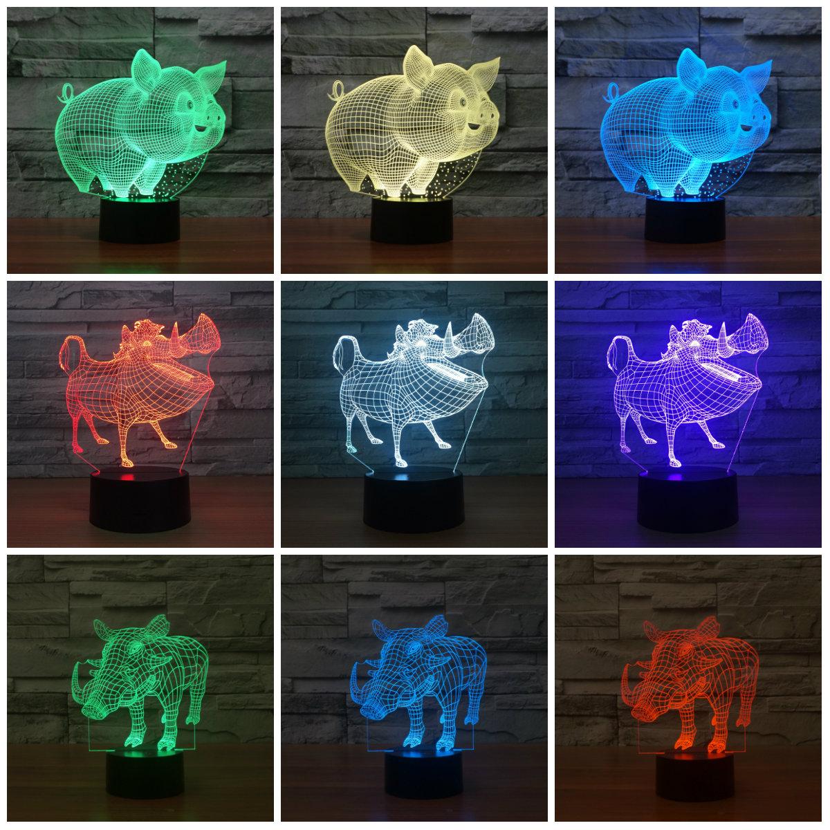 Lovely Pig Night Light Pig 3D Lamp Bulbing Touch Swithc Colorful Desk 7 Colore Change USB Table Desk Nightlight for Kid IY803607