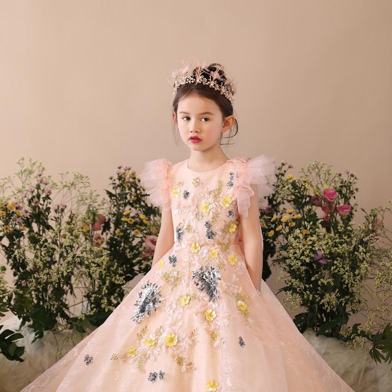 Fleur mère fille robes vêtements de mariage maman et fille robe robe de bal maman filles robe de soirée famille correspondant tenues - 2