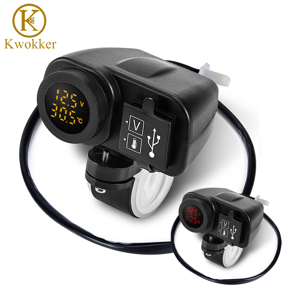 Newest Arrival Motorcycle Dual USB Charger 12V 4.2A Moto 2.1A+2.1A 12V To 5V 15W USB Charger With Voltmeter LED Display Sockets