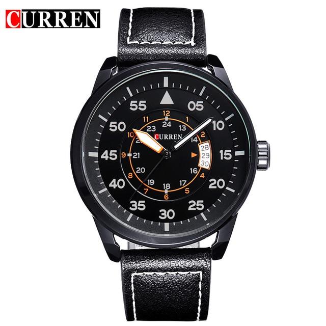 2016 Relojes Curren hombres Deportes Relojes de pulsera de Cuero Relojes de Cuarzo Para Hombre Relojes de Primeras Marcas de Lujo Del Relogio Relojes de Los Hombres 8212