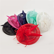 ShanFu Ladies Large Feather Fascinators Sinamay Hats Vintage Women Hair Accessories with Headband for Wedding Party Races C12391