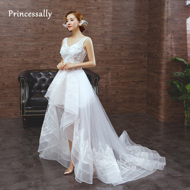 New Wedding Dress Short Front Long Back Organza Lace Beading Appliques A Line With Sweep