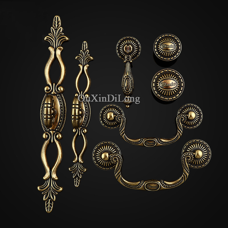 NEW 10PCS Zinc Alloy Furniture Handle European Antique Style Drawer Wardrobe Cupboard Cabinet Kitchen Pull Handles