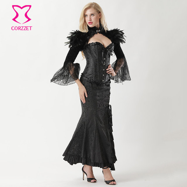 cf2ce79a960 Black Victorian Corset Long Skirt And Vintage Jacket Outfits Sexy Corset  Dress V ire Costume Gothic Clothing Ste unk Dresses Sc 1 St Aliexpress