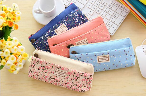 Double Zipper Pencil Cases Flower Garden Shivering Pencil Bags Box Cute School Stationery Cosmetic Bag Pouch For Girls Women